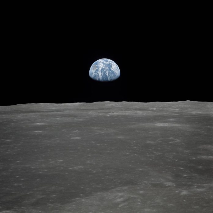 Earth rising Apollo 11