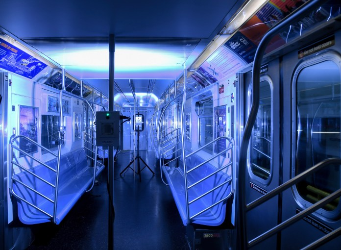 NYC subway train with disinfecting UV light