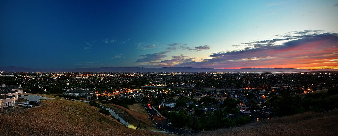 summer solsttrice sunset over Silicon Valley