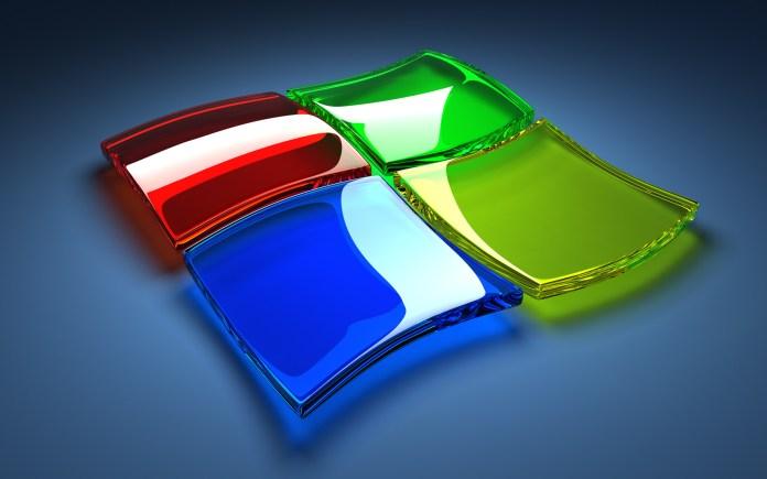 Microsoft logo in glass