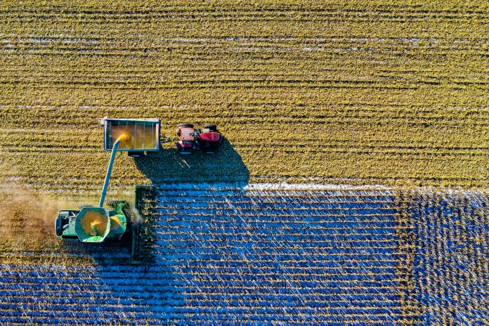tractor in a field aerial view