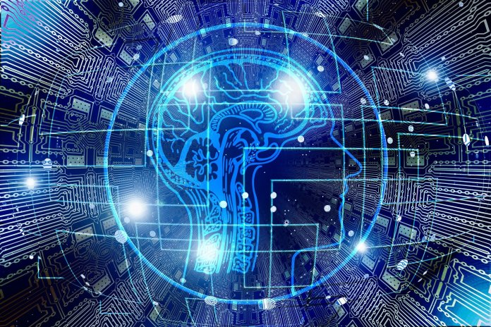 AI future trends brain outline on a blue background