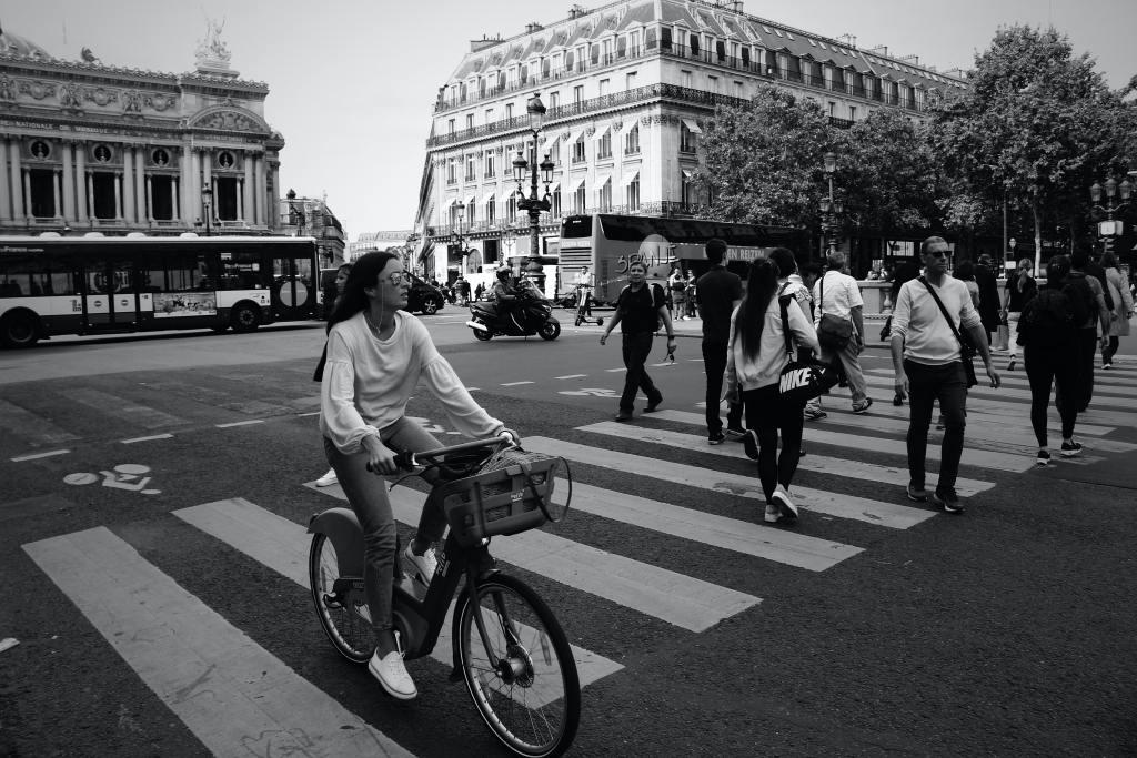 A cyclist in an urban environment
